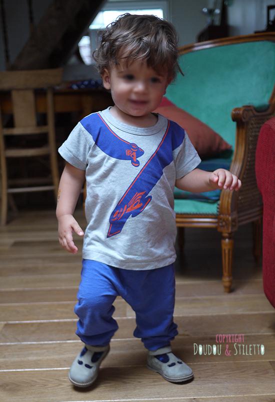 T-shirt Little Marc Jacobs, sarouel Zara, chaussures Pom d'Api
