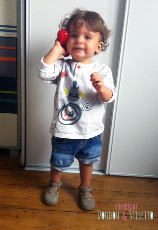 T-shirt Catimini, short Zara, chaussures Pom d'Api