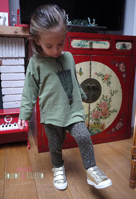 Legging Zara, t-shirt Bobo Choses, chaussures 10is