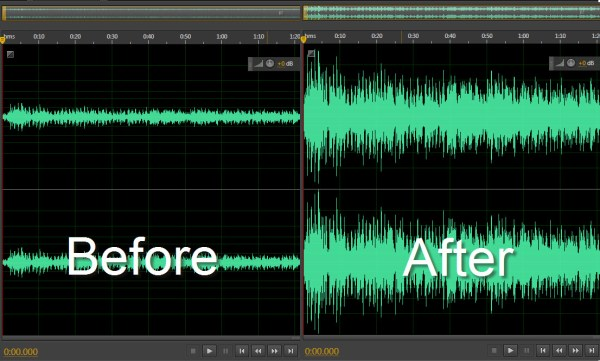 wave sound pattern - before and after
