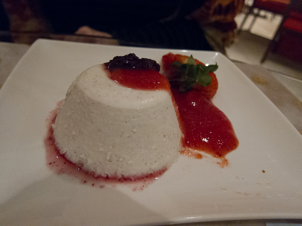 Raw coconut panna cotta at Blockade Runner
