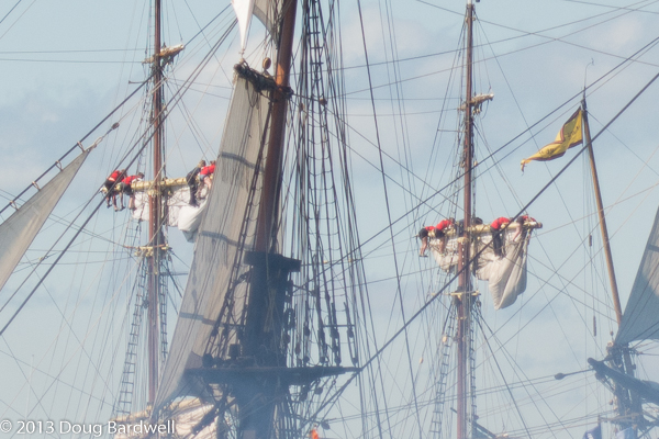 The British raise their sails in the re-enactment