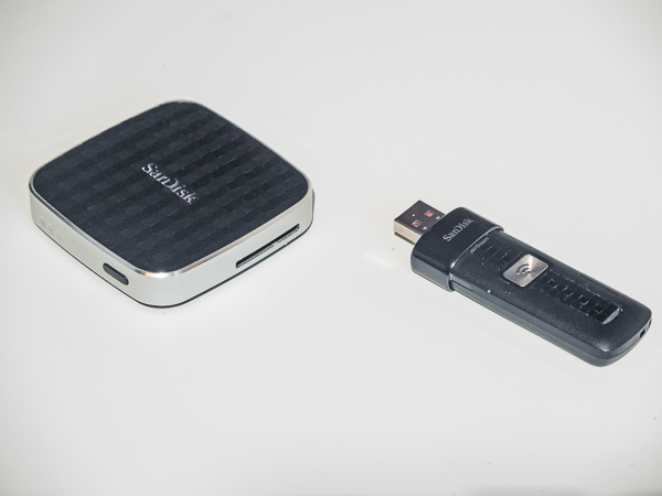 Sandisk Connect Wireless Media Drive (L) and Flash Drive (R)