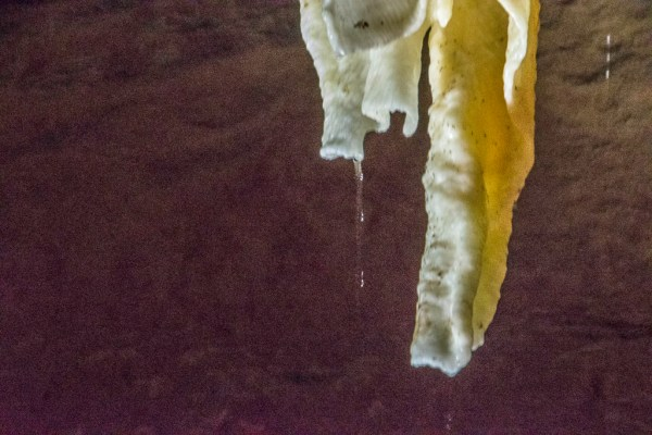 The water continues to drip so the stalactite continues to grow.