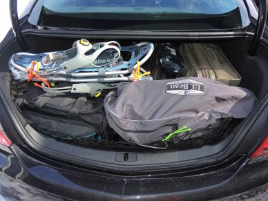2015 Buick Regal GS AWD trunk holds five suitcases plus two pair of snowshoes and poles