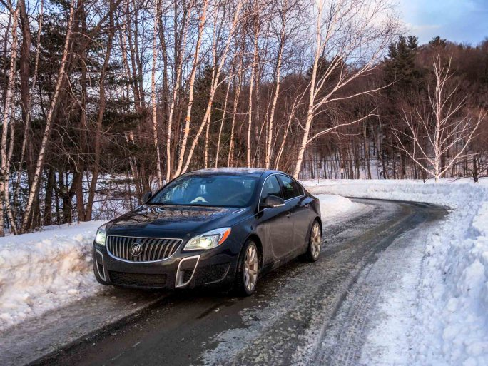 2015 Buick Regal GS AWD driving in Vermont