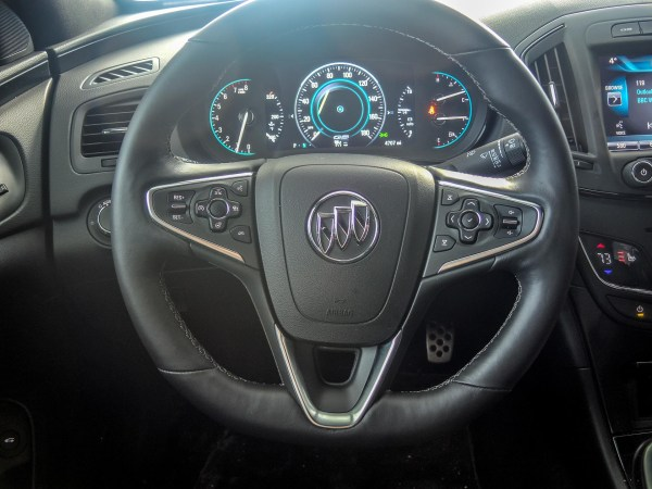 Steering wheel on the 2015 Buick Regal GS AWD