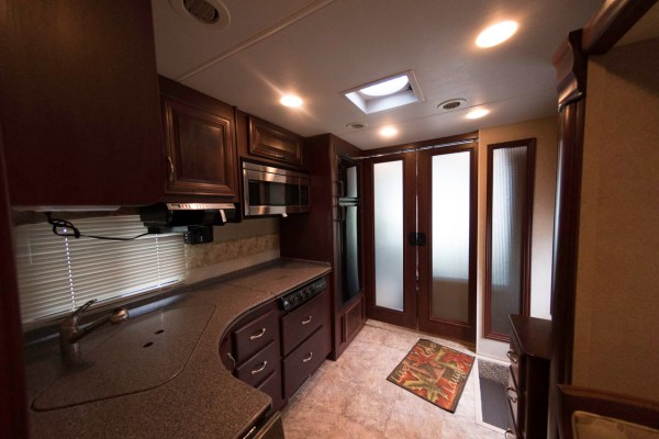 The kitchen area of the Thor Challenger Class A motorhome