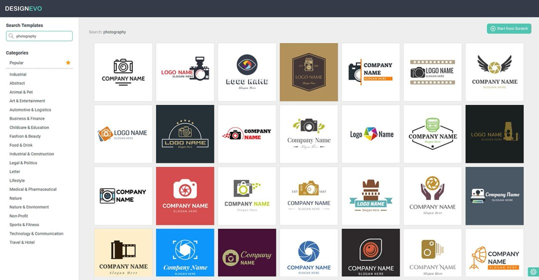DesignEvo selection of predone logos