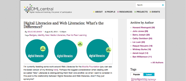Digital Literacies and Web Literacies: What's the Difference? [DMLcentral]