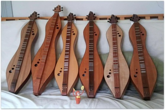 Dulcimers by Doug Berch - monkey is to show actual size of dulcimers