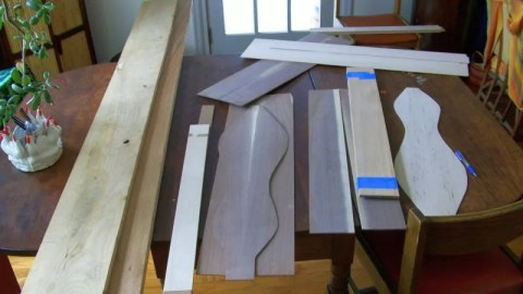 Sorting wood for dulcimers yet to be born