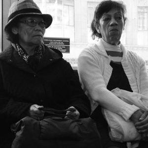 women on morning bus