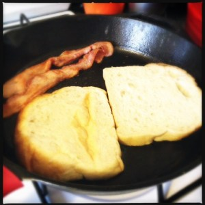 fried bread and bacon