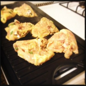 chicken thighs cooking