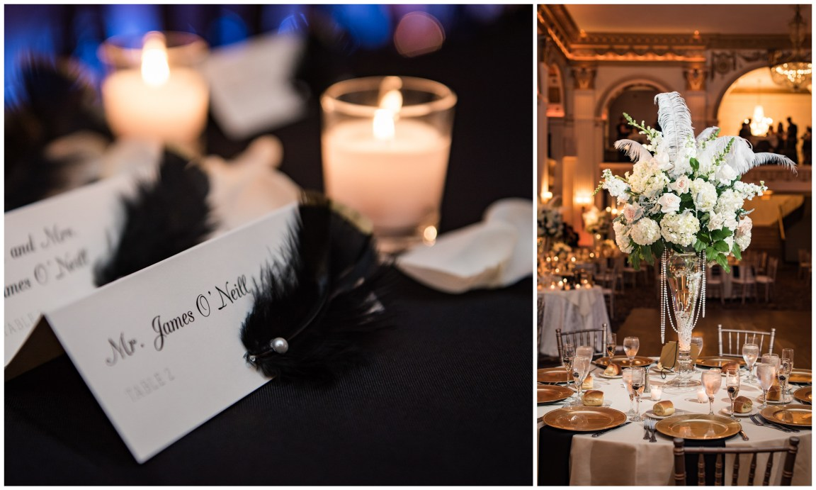 Center City Philadelphia Wedding Gatsby wedding details at the Ballroom at the Ben Philadelphia PA