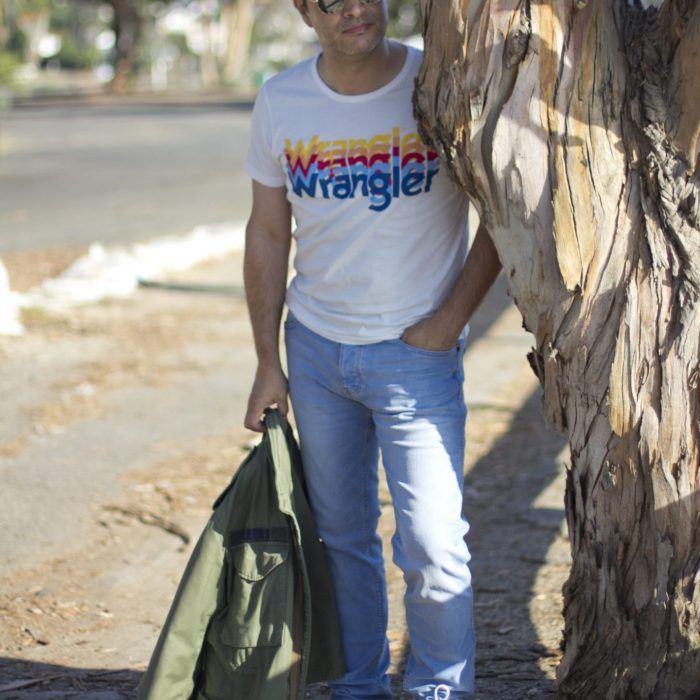 Wrangler jeans Los Angeles men's blogger