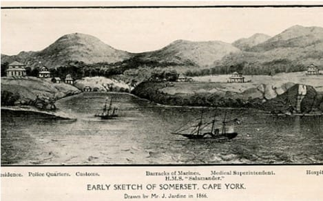 Drawing of Somerset in 1866 showing native coconut palms.