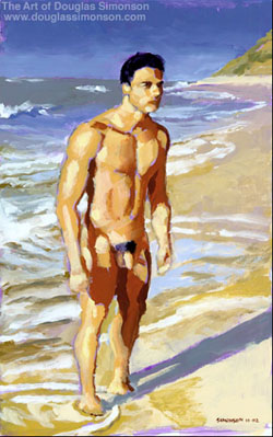 Acrylic sketch on paper, done with limited palette, entitled 'Shawn Standing Nude on Beach'