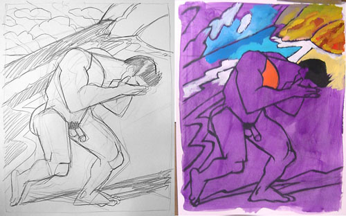 One of the preparatory pencil sketches, and on the right, beginning to lay in the colors over the purple wash.