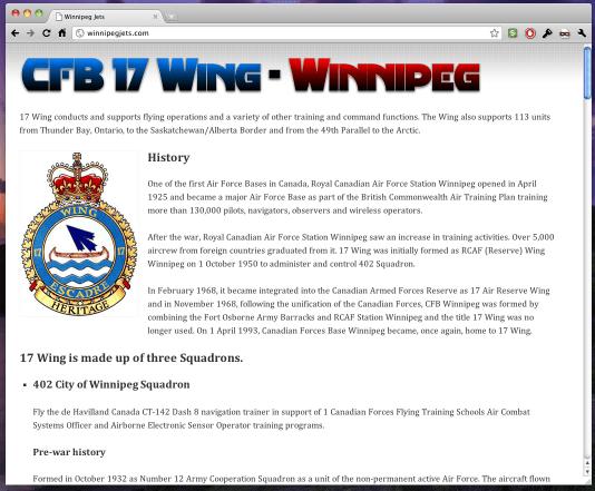 The Current Winnipegjets.com Homepage
