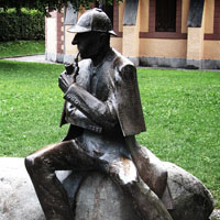 Sherlock Holmes statue in Switzerland, where he was believed to die.
