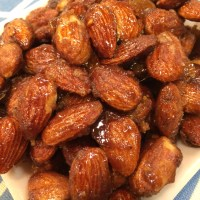 Spicy Raspberry Balsamic Glazed Rosemary Candied Almonds