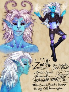 Character Sheet for Zenith, one of the nephilim NPCs in Dawnfall, art by RoAnna Sylver