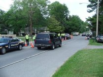 Dover Police Officers conduct a seat belt checkpoint