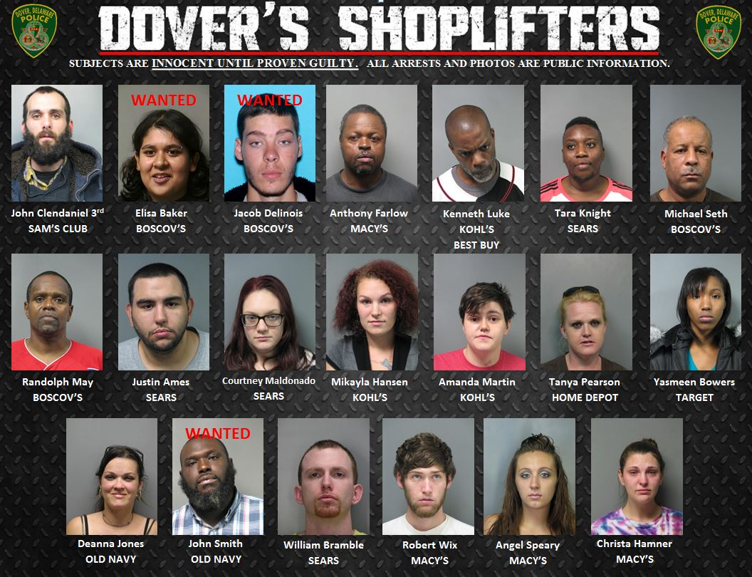 Weekly Shoplifter Arrests 12/18/14-12/31/14 | City of Dover Police