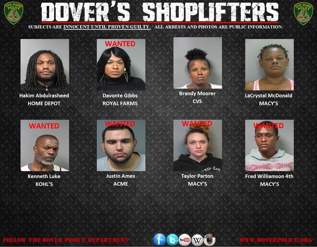 Weekly Shoplifter Arrests 1/29/15-2/5/15 | City of Dover Police