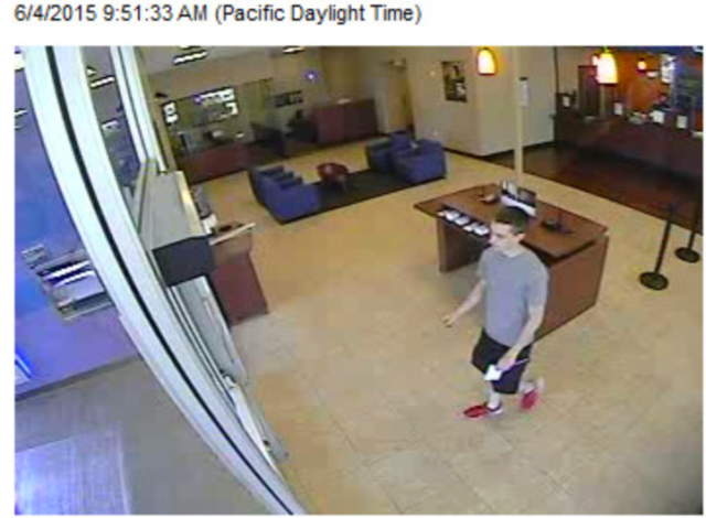 Bank surveillance footage shows Rack making a withdrawal in Sacramento, California