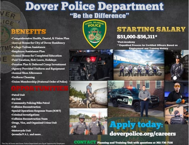 CAREERS   City of Dover Police Department