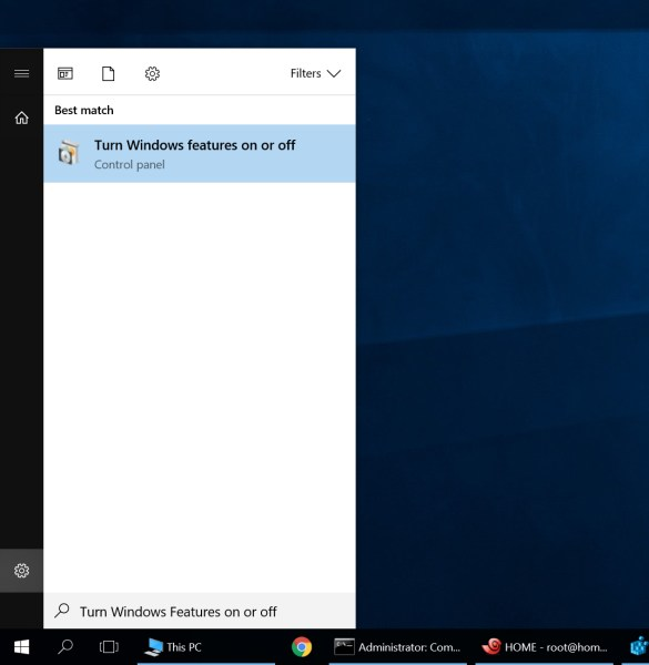 Turn Windows features on or off.