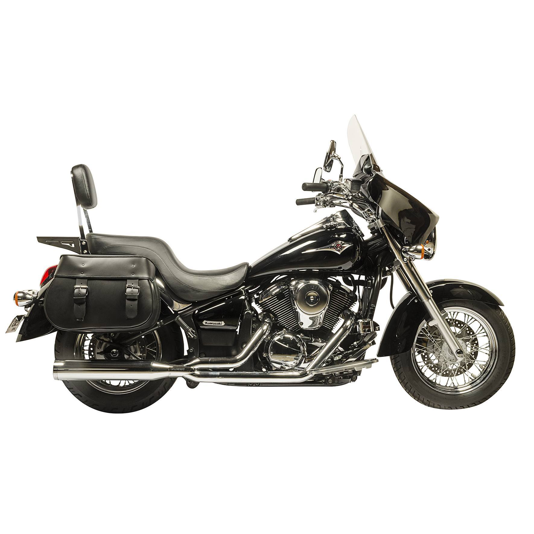 Willie and Max Mighty Legend Leather Saddlebags on a Kawasaki Vulcan 900 Motorcycle