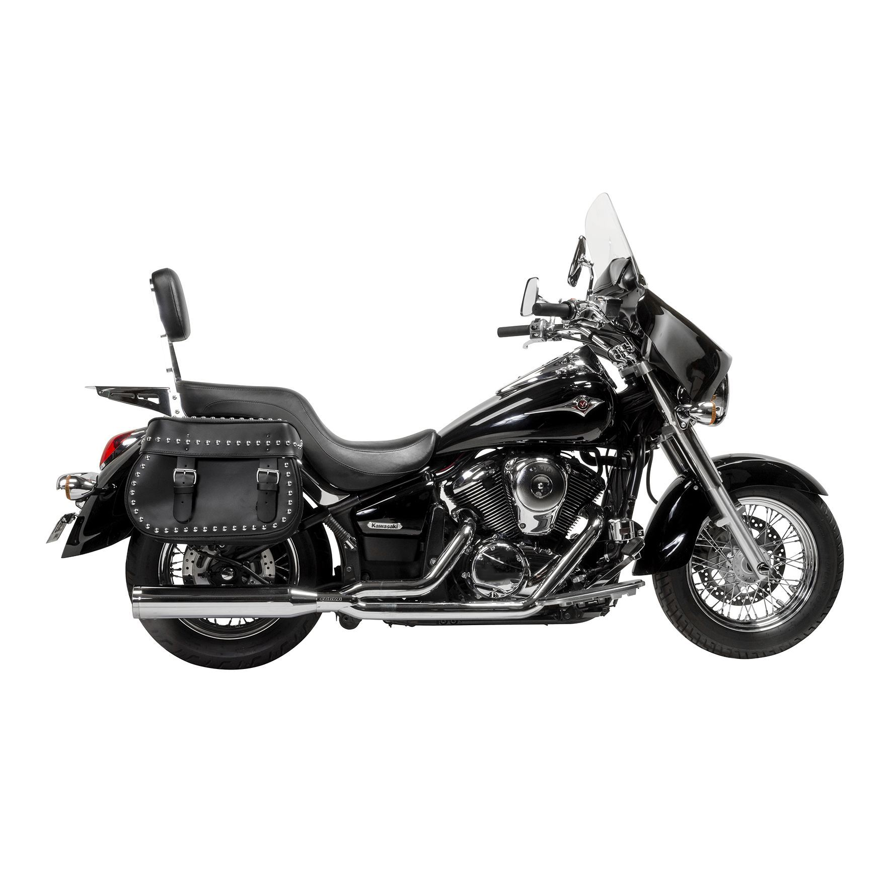 Willie and Max Mighty Legend Studded Leather Saddlebags on a Kawasaki Vulcan 900 Motorcycle