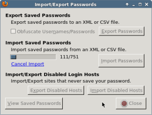 The importer dialog