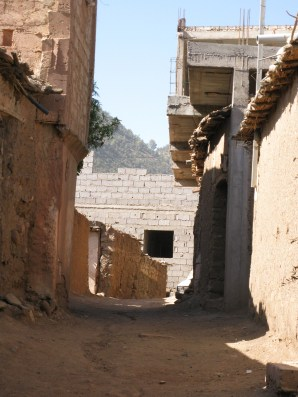 A walkway in a Berber village, Morocco
