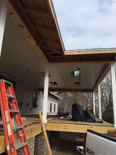 East side of the house- porch & soffit