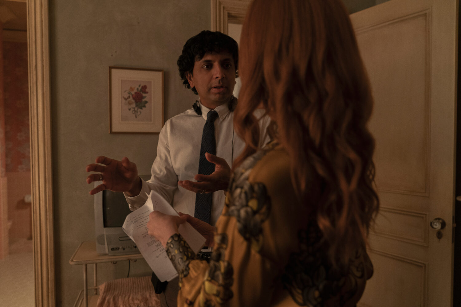 "Director M. Night Shyamalan and Lauren Ambrose in ""Servant,"