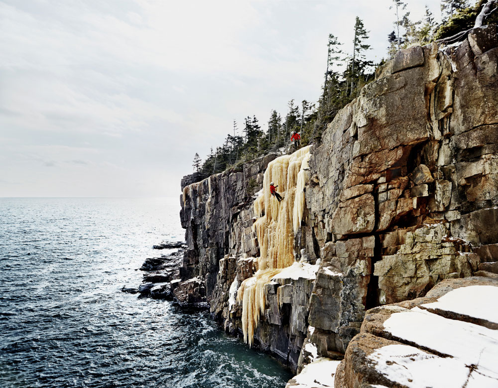Ice climbers at Otter Cliff are among the hardcore outdoor rec types who've long known of Acadia's winter pleasures. Hire a guide, rope, up, and head out.