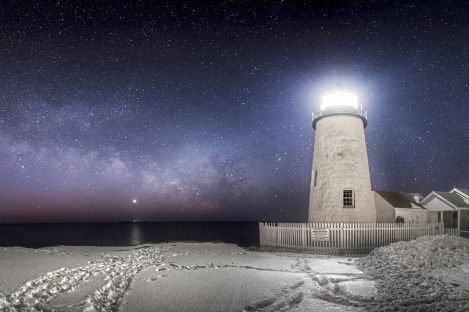 Galaxy Rise at Pemaquid Point Light, taken in February, when the Milky Way is reemerging above the horizon in the northern hemisphere.