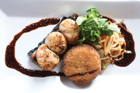 grilled scallops and roasted pork belly