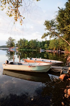 Skiffs at Chet's Camps on Big Lake