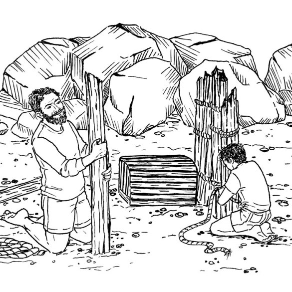 Illustration of father and son building fort