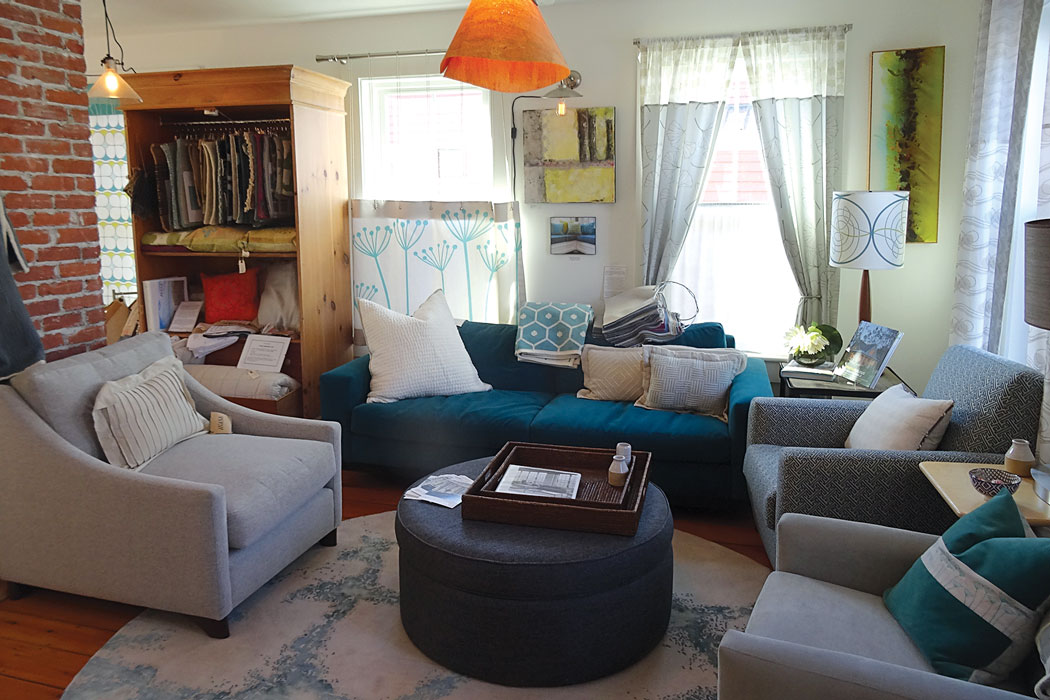 Amy Dutton's lampshades, pillows, and curtains in her homey showroom.