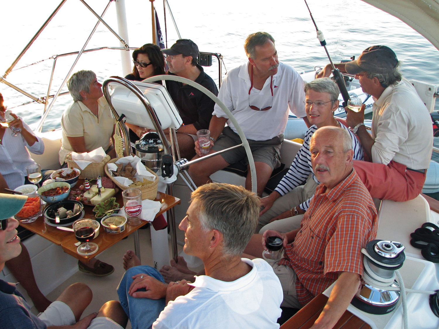 Friends of Arnold and Ronna Ziegel's aboard the Metaphor, sailing in Maine