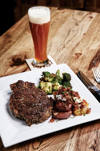 The 10-spice ribeye and a well-balanced IPA made with local malts and hops.