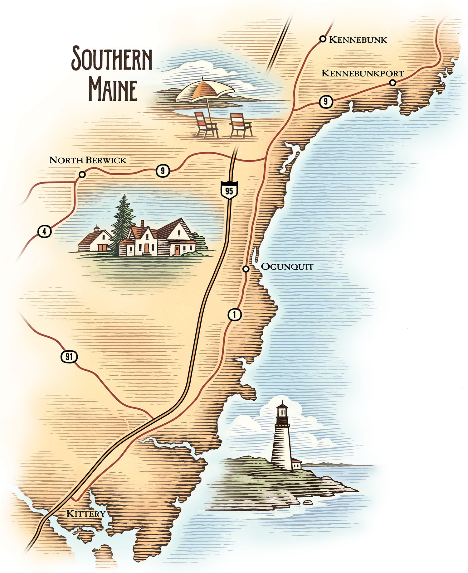 Southern Maine Art Spots Map