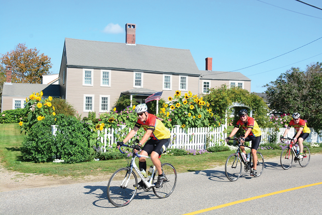 Cyclists enjoy the inland backroads of Kennebunkport